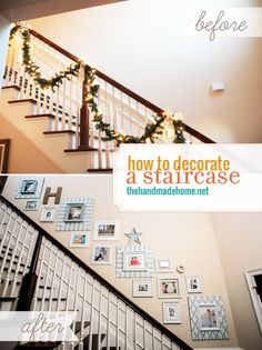Decorating a staircase with frames.  I like the pop of color instead of using all black or metal frames.