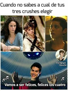 It translate to: when you don't know which of your three crushes to choose. We're going to be happy, happy there's a fourth Maze Runner Funny, Maze Runner Thomas, Newt Maze Runner, Maze Runner Cura Mortal, The Scorch Trials, Book Memes, Dylan O'brien, Stupid Funny Memes, Hunger Games