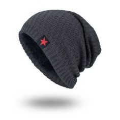 daaa859633a Star Label Embellished Stripy Thicken Knit Hat