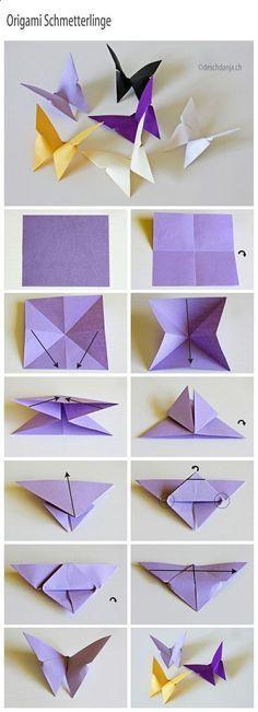 How to make Origami Butterflies These are lovely butterflies. DIY basteln mit Kinder im Frühling / Ostern. Tolle Idee zum basteln als Dekoration. Bastelideen mit Kindern zum Dekorieren zu Hause. Schmetterlinge aus Origami / Papier basteln.