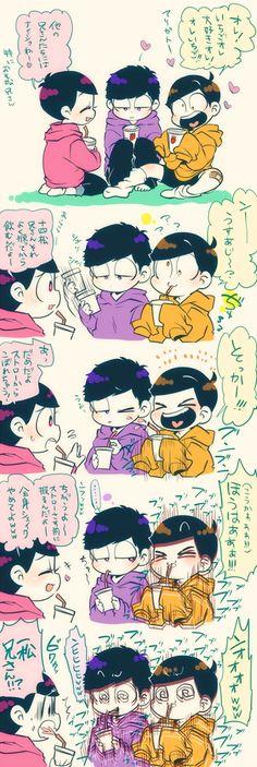 Todomatsu Ichimatsu and Jyushimatsu Hot Anime Boy, All Anime, Anime Chibi, Anime Guys, Manga Anime, Japanese Show, Osomatsu San Doujinshi, Ichimatsu, Anime Comics