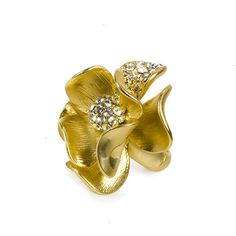 Little Black Bag | Gold Floral Stretch Ring by Rain