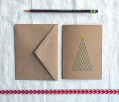 Christmas Tree Card - Embroidered Holiday Card.