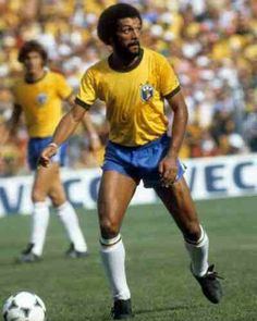 Junior of Brazil in action at the 1982 World Cup Finals.