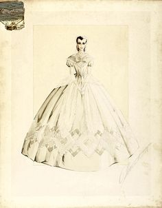 """Costume Design Detail from """"Gone with the Wind"""". Melanie's dress at Scarlett's wedding to Charles"""