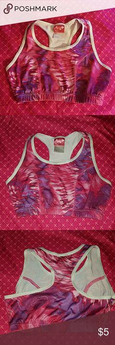 c8e0c7c0f5799 Girl s Dance Gym Tie Dye Racer Back Bra Top Pink and purple dance gym bra  top.