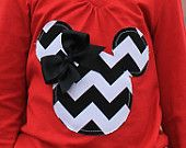 Minnie Mouse - Tee Shirt Black and White Chevron with Red T-Shirt Disney Trip Outfit Black Bow Customizable Boutique