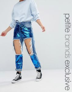 Liquor+&+Poker+Petite+Extreme+Rip+Skinny+Jean+With+Sequin+Inserts