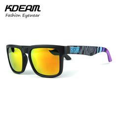Kdeam Sport Sunglasses Men Reflective Coating Square Polarized Sun Glasses Women Brand Designer Oculos De Sol With Original Case