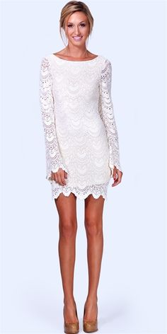 Lace mini-dress for Rehearsal Dinner.