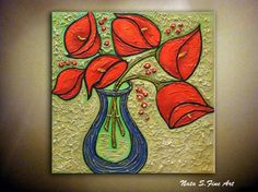 Calla Lilies Painting Original Abstract Painting Textured