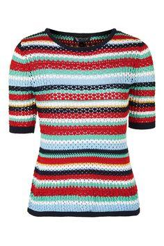 Topshop Multi-Colour Crochet Tee $65
