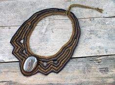 Pin to save the next gift for yourself!      Unique necklaces for women, Boho Bib necklace, Statement jewelry, Anthropologie necklace, Natural large necklace, Collar bib, Botswana Agate    This necklace has been handmade crochet by me with Shades of brown threads and set with Botswana Agate.