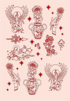 Tattoos And Body Art tatoo flash 16 Tattoo, Tattoo Drawings, Art Drawings, Tattoo Sketches, Tiny Tattoo, Tattoo Names, Gold Tattoo, Tattoo Ink, Hand Eye Tattoo
