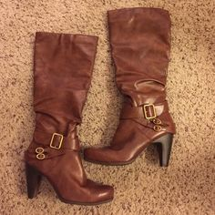 Brown Boots Brown zip up boots with heel and buckle design. Worn once. Great condition. Diba Girl Shoes Heeled Boots