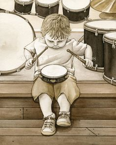 Little Drummer Boy - 8x10 archival watercolor print by Tracy Lizotte. $22.00, via Etsy.