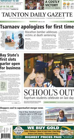 The front page of the Taunton Daily Gazette for Thursday, June 25, 2015.