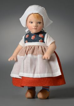 """RJW Dolls - Gerda. Height 6 1/2"""", felt, fully jointed, hand painted features, authentic Holland costume with custom-made wooden shoes. Date of Release: 2013 Limited Edition 100. Introduced at the 2013 R. John Wright Convention """"Around the World."""""""