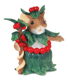 Take a look at this Holly-Day Attire Mouse Figurine by Charming Tails on #zulily today!