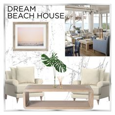 """""""Vacation Vibes: Dream Beach House"""" by rasa-j ❤ liked on Polyvore featuring interior, interiors, interior design, home, home decor, interior decorating, Pottery Barn, McGuire, Max Wanger and Yankee Candle"""