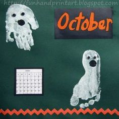 Cute idea for an October Handprint Calendar craft - make painted hand and foot ghosts! This makes a cute keepsake to look back on every Halloween. Babys 1st Halloween, Halloween Crafts For Kids, Halloween Art, Fall Crafts, Arts And Crafts, Leaf Crafts, Print Calendar, Kids Calendar, Preschool Calendar