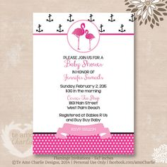 Pink Flamingo Baby Shower Invitations  Paradise by TeAmoCharlie