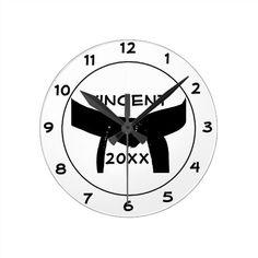 Shop Martial Arts Black Belt Round Round Clock created by loraseverson. Taekwondo, Karate, Round Round, Black Belt, Martial Arts, Clocks, David, Prints, Punto De Cruz