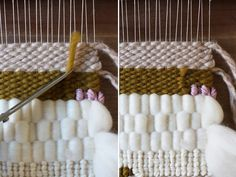DIY Woven Wall Hanging  Note: Great tutorial on finishing ends, soumak stitch and how to add more yarn if you run out