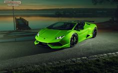 Download wallpapers Lamborghini Huracan Spyder, sunset, lake, supercars, 2017 cars, green huracan, Lamborghini