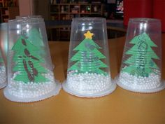 Plastic cup snow globe - - Holiday wreaths christmas,Holiday crafts for kids to make,Holiday cookies christmas, Christmas Arts And Crafts, Preschool Christmas, Christmas Activities, Christmas Projects, Kids Christmas, Holiday Crafts, Christmas Ornaments, Christmas Crafts For Kindergarteners, 2nd Grade Christmas Crafts
