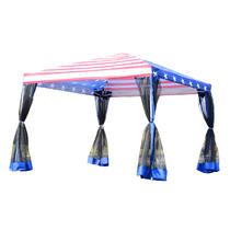 10' x 10' Pop-Up Canopy Shelter Party Tent w/ Mesh Walls - American Flag