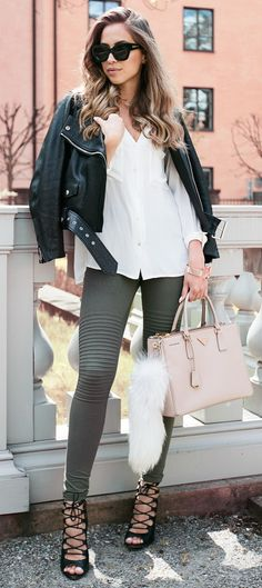 Acne jacket, H&M shirt & bracelet, tights from Asos, Zara Heels