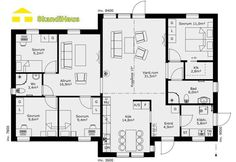 Sweden house SkandiHouse 125 floor plan - Build Container Home The Plan, How To Plan, House Outline, Sweden House, Dream House Plans, Big Houses, Decorating On A Budget, Building A House, Building Ideas