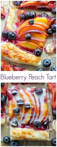Easy Blueberry Peach Tart with Vanilla Glaze - Sweet, fruity, and topped with vanilla glaze – this dessert just screams SUMMER!