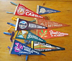 8 Vintage Pennants Pennant Instant Collection Souvenir Pennant 1950's by treasurecoveally on Etsy