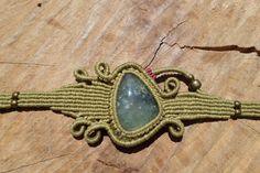 prehnite cabochon macrame stone bracelet,macrame jewerly,gemstone macrame,healing stone,cord bracelet,gift for her,wide bracelet,asymetric by ARTEAMANOetsy on Etsy