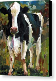 Connie The Cow Canvas Print by Cari Humphry.  All canvas prints are professionally printed, assembled, and shipped within 3 - 4 business days and delivered ready-to-hang on your wall. Choose from multiple print sizes, border colors, and canvas materials.
