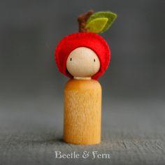 Little Apple Hat Peg Doll Waldorf Inspired by BeetleAndFern, $12.00