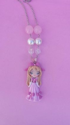 Polymer clay necklace girl pink polymer clay by Artmary2 on Etsy by joni