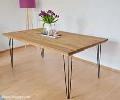 Dinner table with hairpin legs Dining table Table with hairpin legs Desk Study Hairpin Leg Dining Table, Metal Dining Table, Diy Esstisch, Steel Table Legs, Diy Table, Dinner Table, Diy Furniture, Sweet Home, Decoration