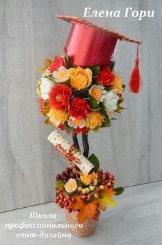 Change it up some for table decor Graduation Flowers, Graduation Decorations, Graduation Gifts, Graduation Ideas, Deco Floral, Floral Design, Deco Table, Party Centerpieces, Grad Parties