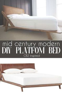 Mid Century Modern DIY Platform BEd is part of Home Accessories Modern Mid Century - How to DIY your own platform bed with midcentury modern flair and a doityourself faux leather headboard Mid Century Modern Bed, Mid Century Bed, Bed Platform, Modern Platform Bed, Diy Platform Bed Plans, Diy Platform Bed Frame, Leather Platform Bed, Diy Modern Bed, Modern Bedroom
