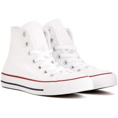 Converse Chuck Taylor All Star High-Top Sneakers (€50) ❤ liked on Polyvore featuring shoes, sneakers, converse, white, white hi top shoes, white high tops, high top trainers, star shoes and white high top shoes