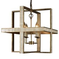 Pickley Modern Classic Cube Rustic Gold Bone Pendant | Kathy Kuo Home