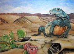 "An 18 inch by 24 inch oil painting I did entitled ""Welcome to the Desert"" for sale 450.00"