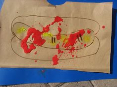 ketchup and mustard hot dog --marble painting. Great for Pigeon wants a hot dog,