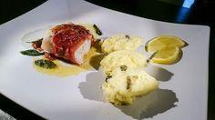 Rezept für Saltimbocca vom Kabeljau an Zitronenpüree mit Kapern. Schnell und lecker. Für 4 Personen.