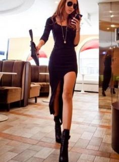 Black asymmetrical side slit dress