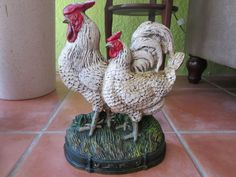 11.5in tall. Antique Rooster & Hen Bookend for cook books (stand sideways to the books)