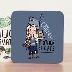 Catleesi - Game of Thrones - Khaleesi - Cute Coaster - Pun  - Cat Coaster - Gift for him - Gift for her - Motivation - Teen Gift - Mat -